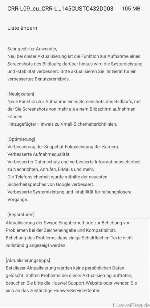 Huawei Mate S Firmware Update B145 Changelog