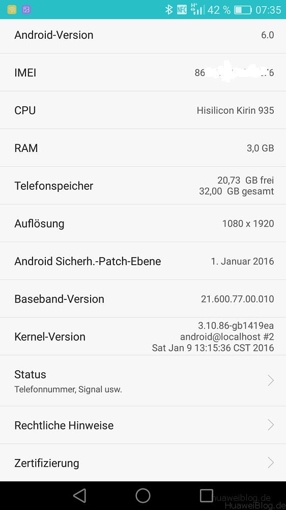 Huawei Mate S Marshmallow Info