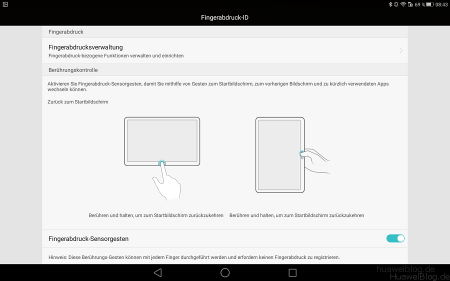 Huawei MediaPad M2 10.0 Fingerabdruck ID