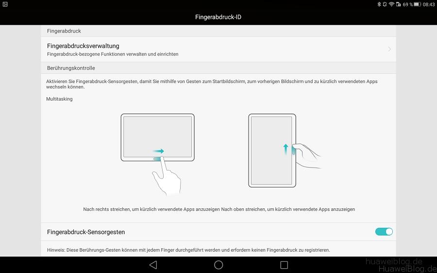 Huawei MediaPad M2 10.0 Fingerprint Funktion