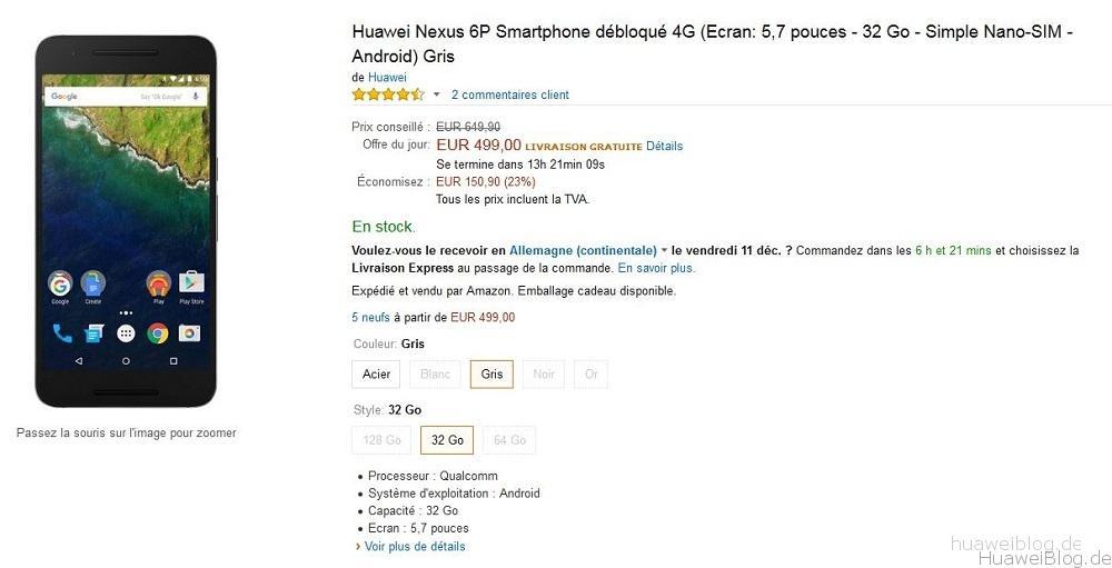 Huawei Nexus 6P Amazon Frankreich Deal