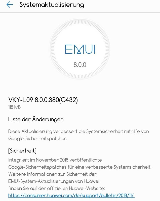 Huawei P10 Plus Sicherheitspatch Google