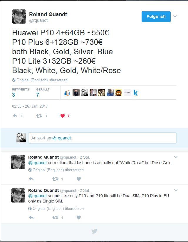 Huawei P10 Preis Farbe