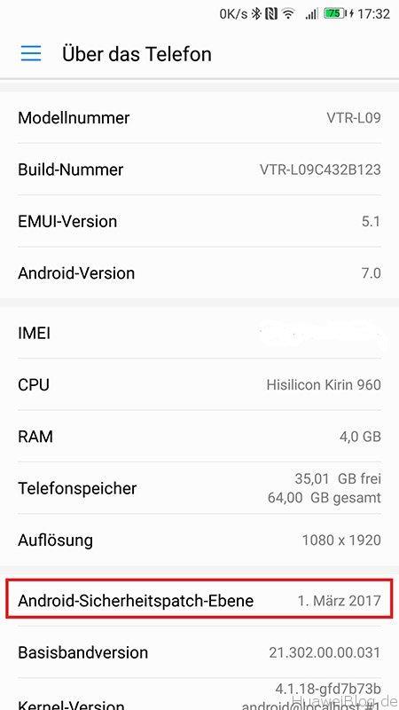 Huawei P10 Update B123 Telefoninfo