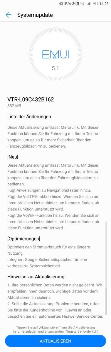 Huawei P10 Update B162 Changelog