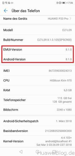 Huawei P20 Android EMUI 8.1