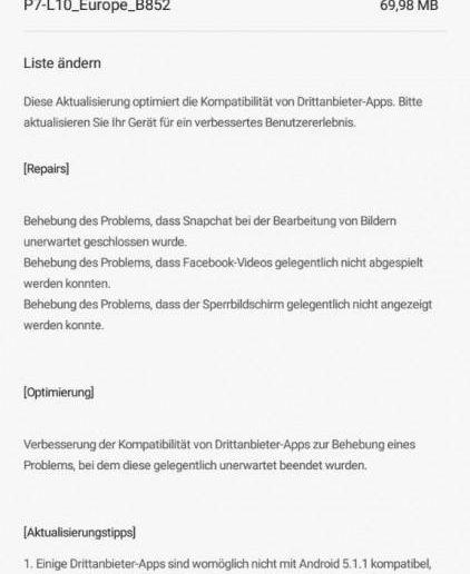Huawei P7 Firmware Update B852