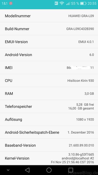 Huawei P8 Firmware Update B390 Infos