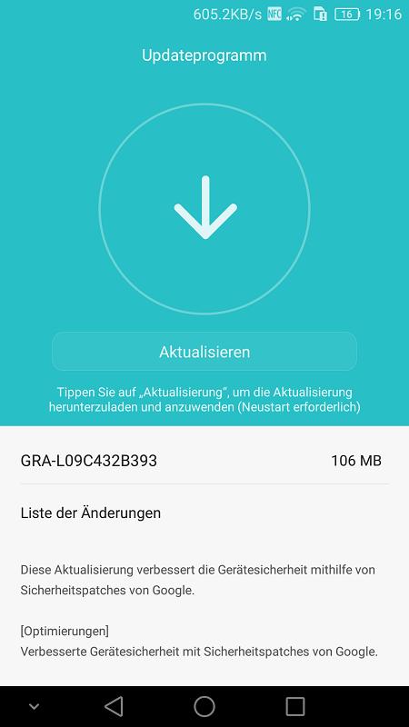 Huawei P8 Sicherheitspatch Aktualisierung