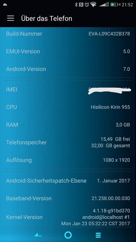 Huawei P9 Firmware EVA-L09C432B378 Telefon Info