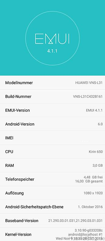 huawei p9 lite b160 b161 firmware update about phone