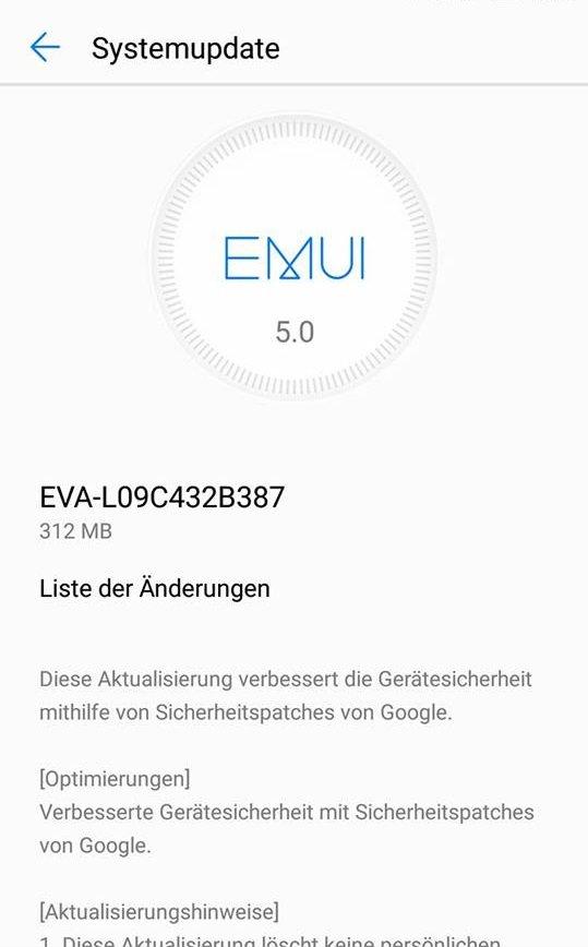 Huawei P9 Update B387 Info