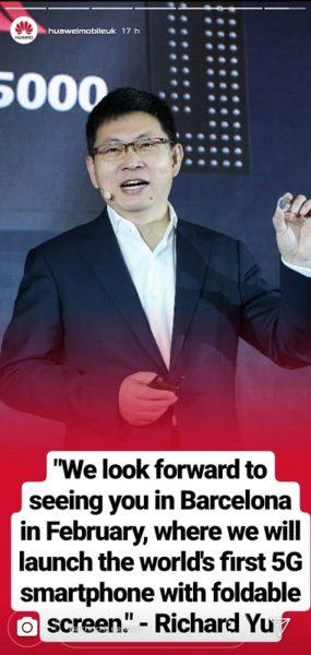 Huawei zeigt faltbares 5G Smartphone beim MWC 2