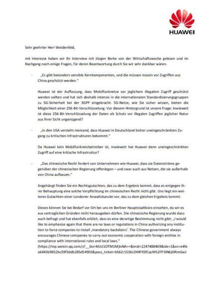 Huawei Deutschland Interview Statement 5G