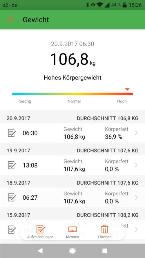Huawei Health App Gewicht