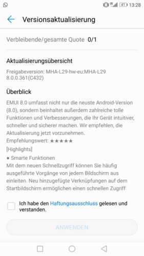 Huawei Mate 9 Oreo / Android 8 / EMUI 8 - Update - Offiziell - HiCare