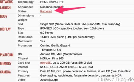 Huawei Mate 9, Spekulationen, Gerüchte