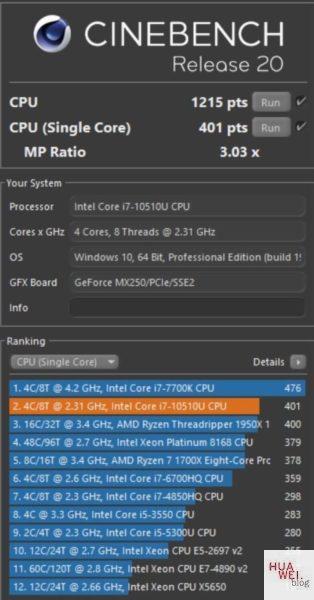 Huawei Matebook X Pro 2020 Test CineBench