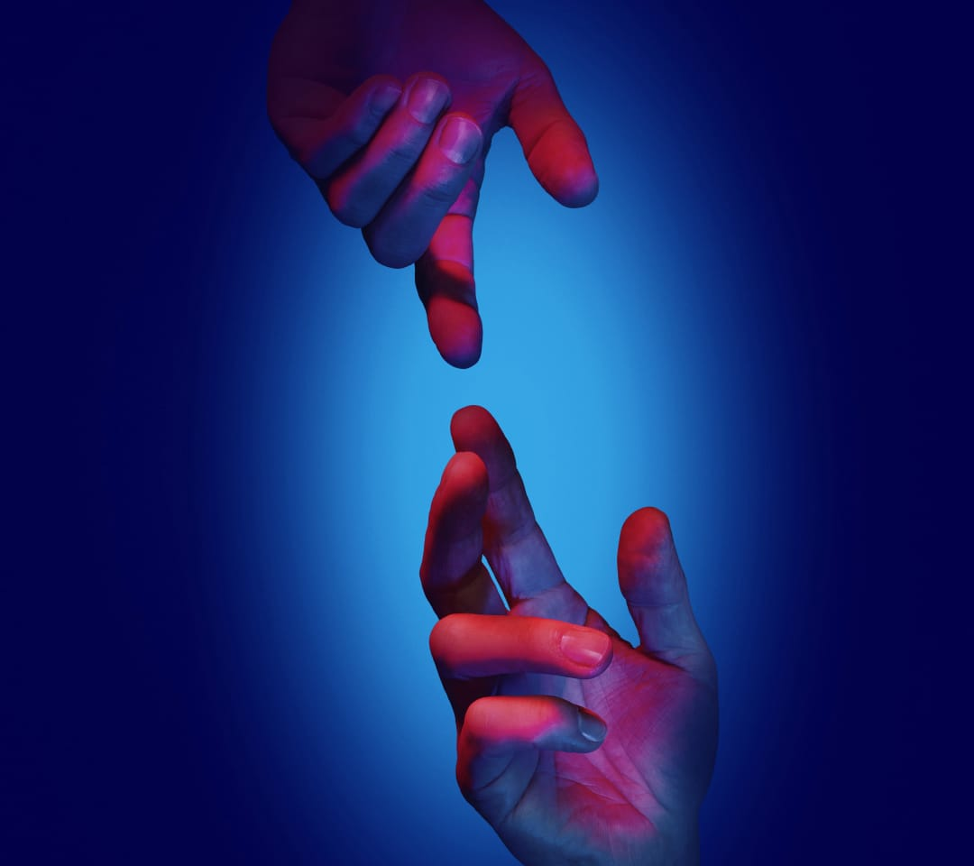 Huawei Wallpaper Hände blau - Download