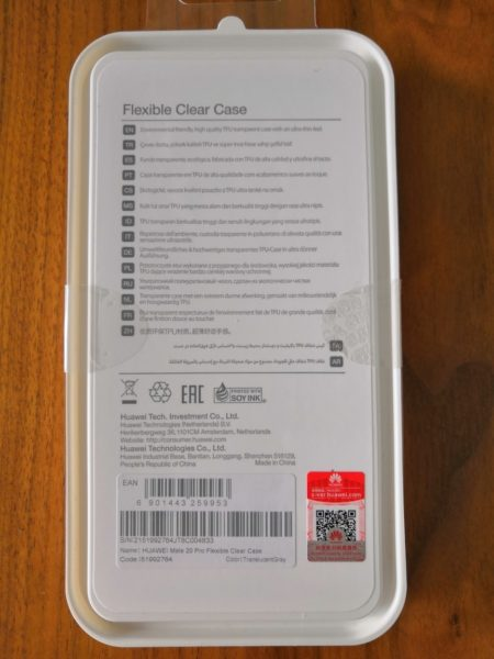 HUAWEI Mate 20 pro Flexible Clear Case - Verpackung hinten