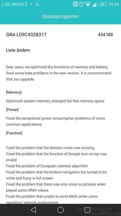 Huawei P8 Marshmallow Update B317 - Changelog