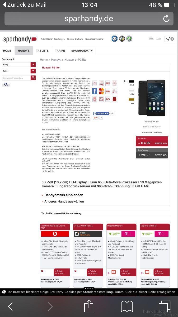 Sparhandy, Huawei P9 lite, Angebot, kaufen, verfügbarkeit