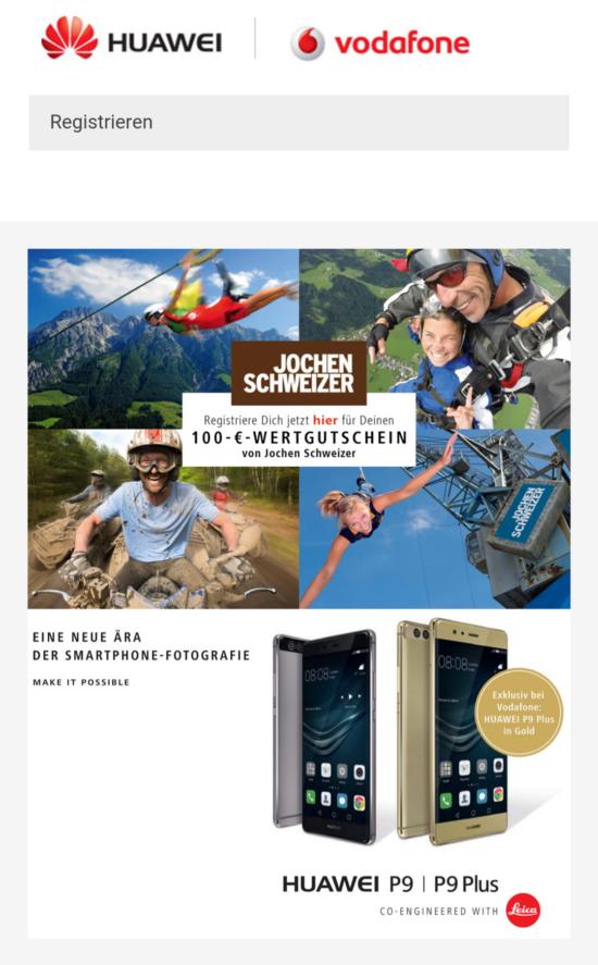 Huawei P9 und P9 Plus mit Jochen Schweizer Wertgutschein