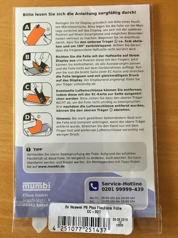 Huawei P9 Plus Schutzfolien mumbi Verpackung