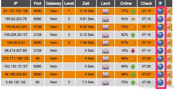 Proxy Liste - UK