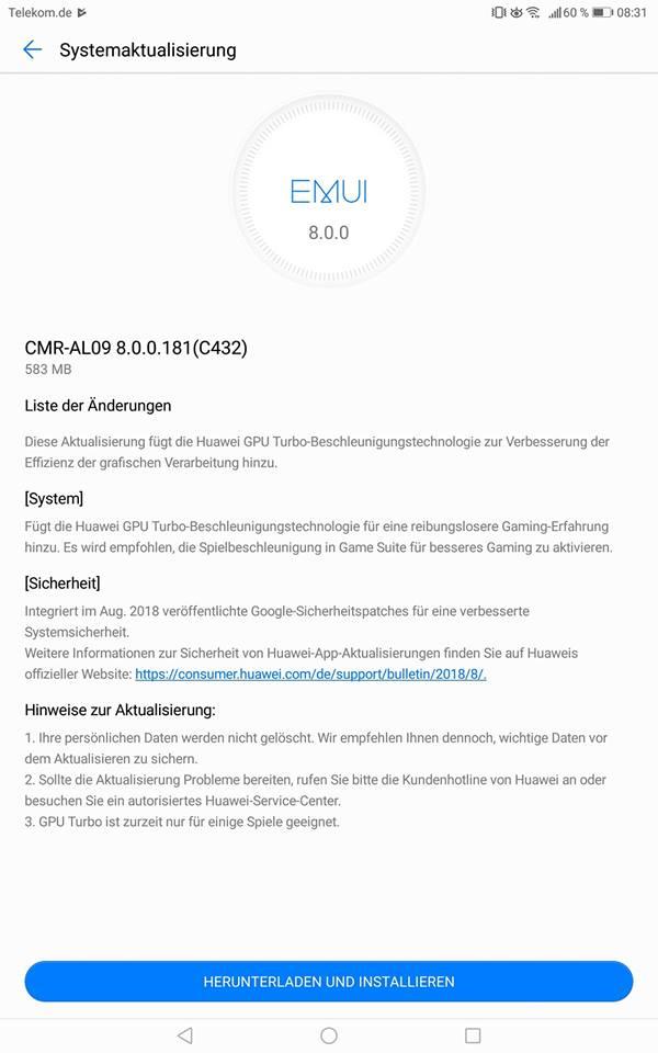 Changelog des MediaPad M5 10 Updates