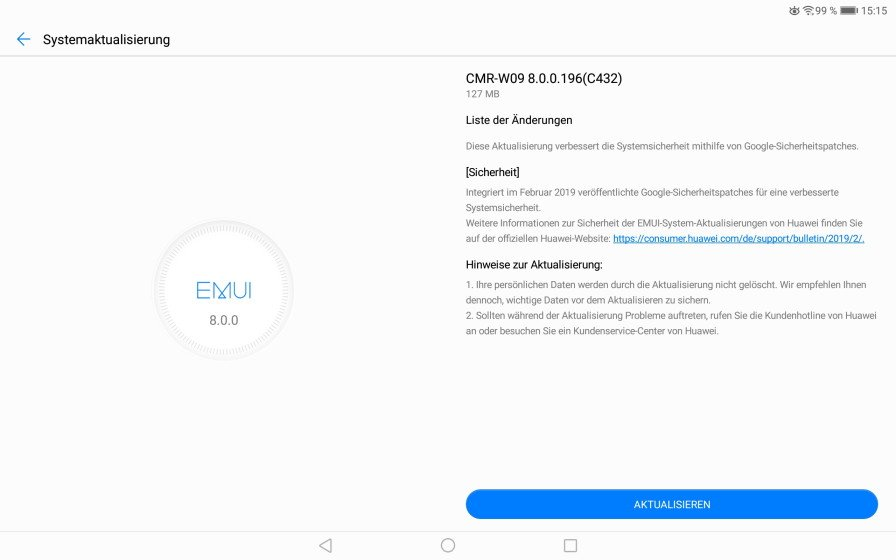 MediaPad M5 10 WiFi und P Smart 2019 - Februar-Patch eingetroffen 1