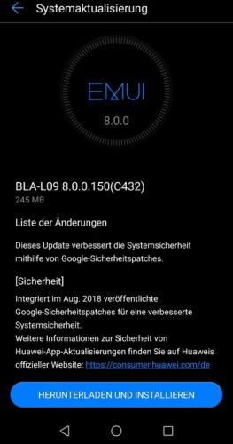 Mate 10 Pro Firmware Sicherheitspatch 150