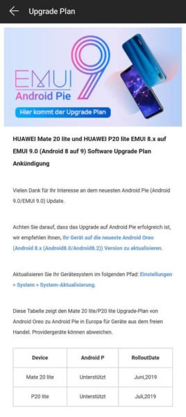 HUAWEI Mate 20 Lite P20 Lite Android 9 EMUI 9 Upgrade Plan