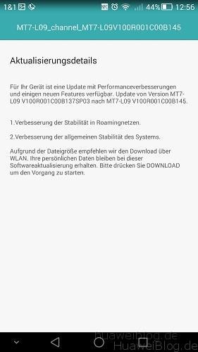 Mate 7 Firmware B145 Changelog