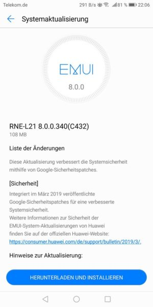 März Updates für Mate 10 lite und P10 (Vodafone) 3