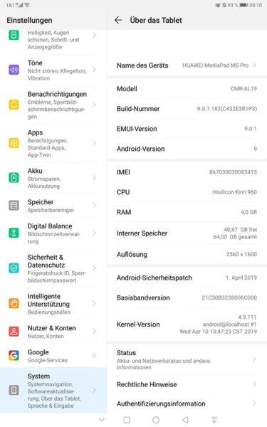 MediaPad M5 Pro - April-Patch