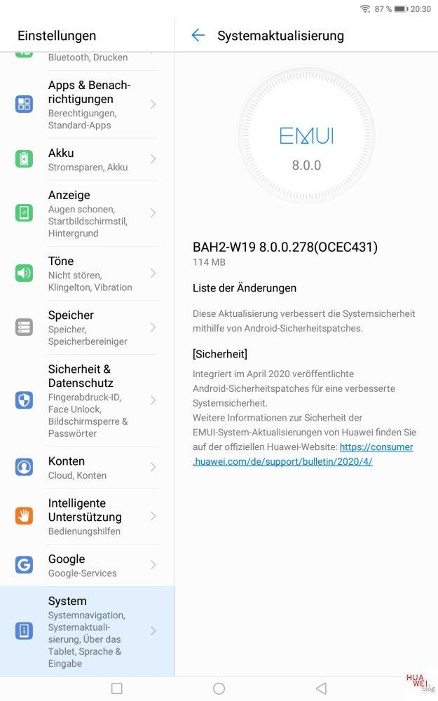 MediaPad M5 Lite Aprilpatch 2020