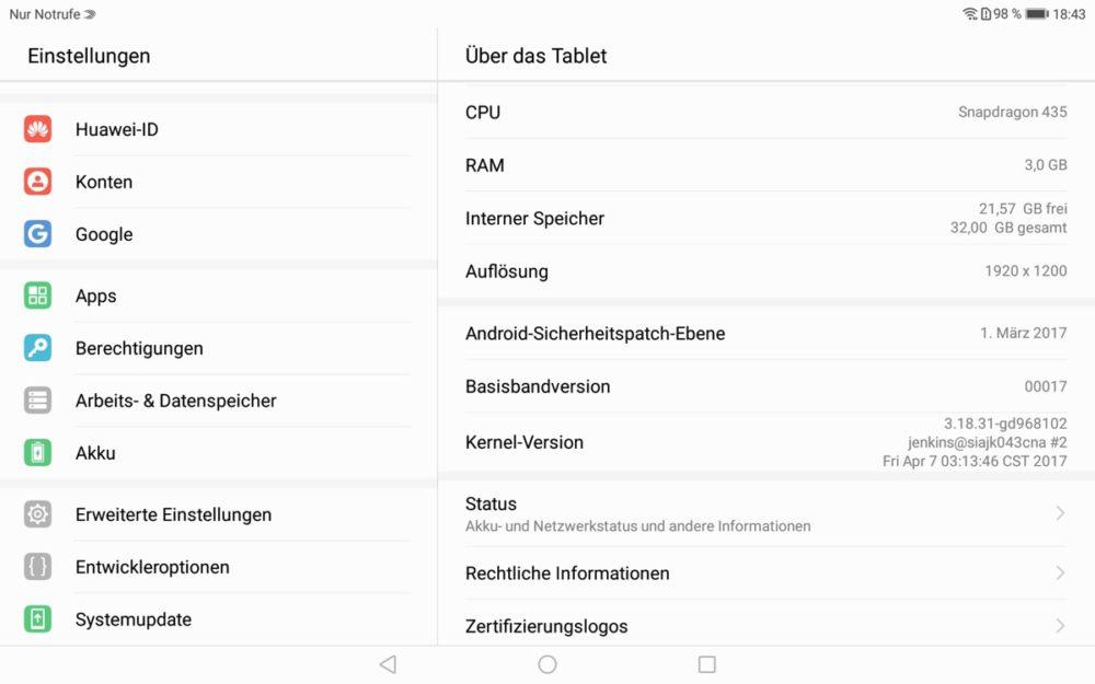 MediaPadM3Lite Android-Version
