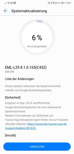 Huawei P20 Firmware Update 165 Changelog