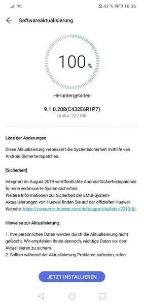 P20 Lite August Sicherheitspatch 9.1.0.208
