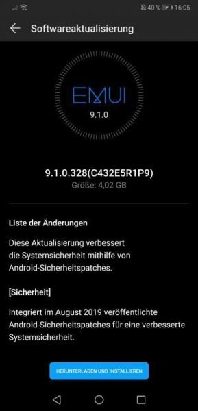 HUAWEI P20 Pro August Patch