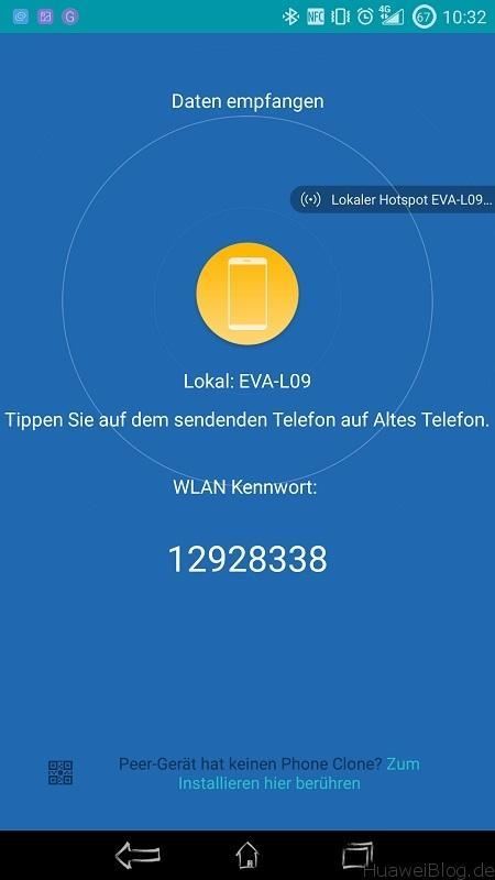Phone Clone Verbindung Datem empfangen