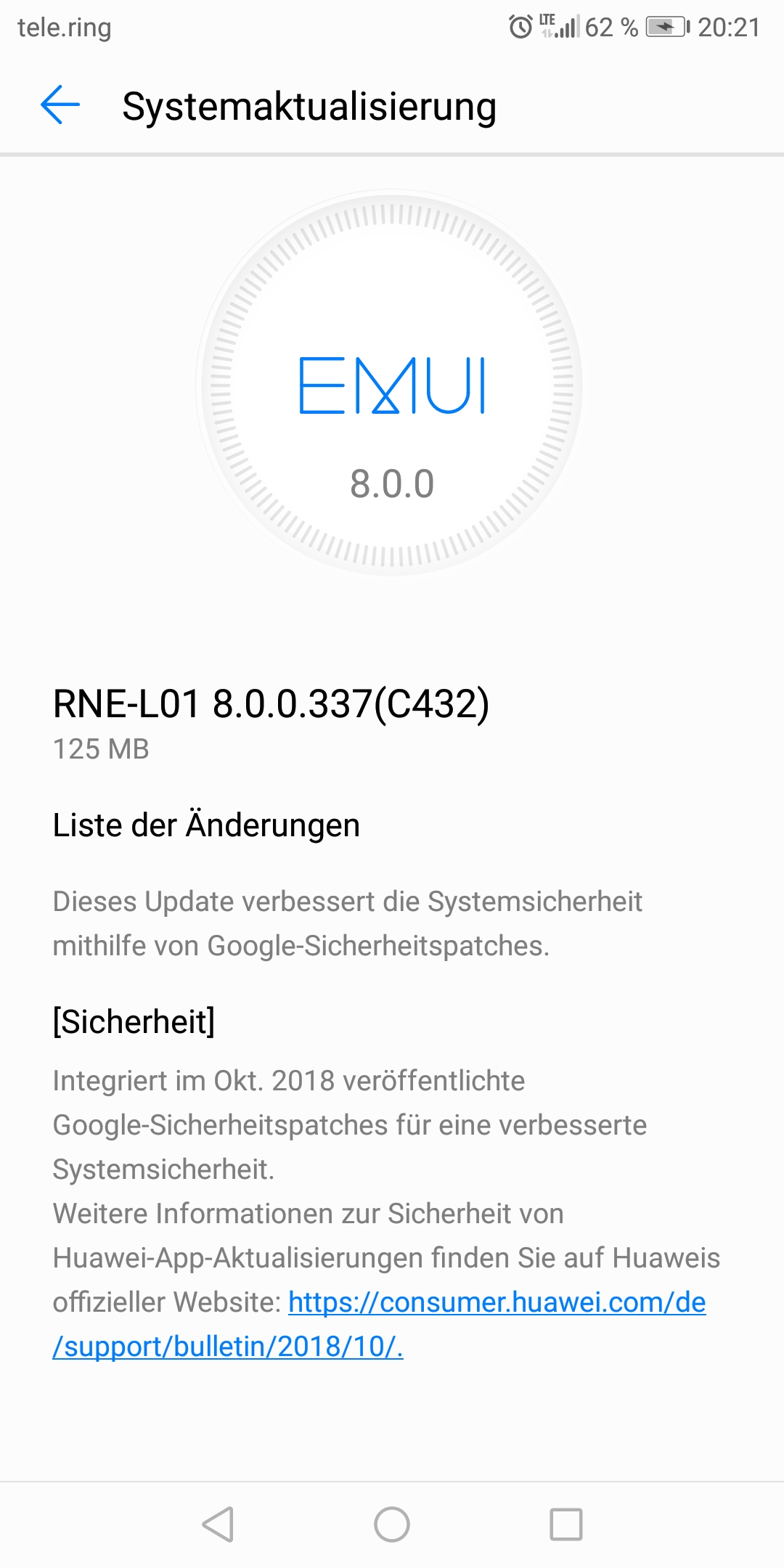 Mate 10 lite Update 337 Changelog