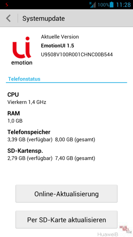 Jelly Bean mit EmotionUI auf dem Huawei Ascend G615