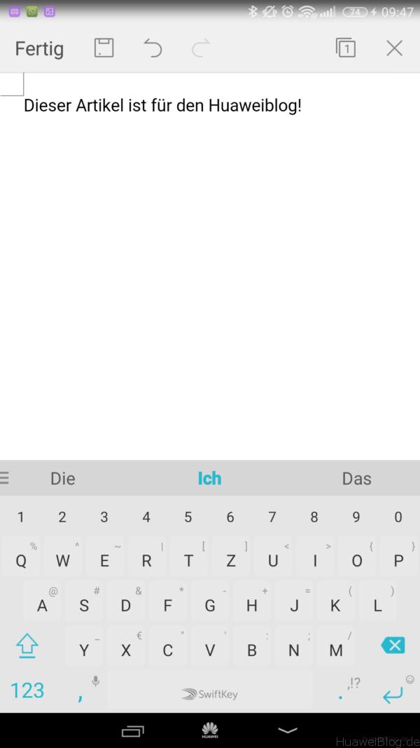 Huawei Mate 8 Textverarbeitung