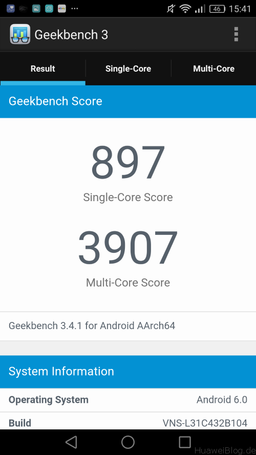 Huawei P9 Lite Benchmark - Geekbench 3 Ergebnisse
