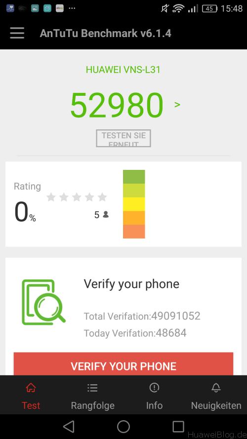 Huawei P9 Lite Benchmark - AnTuTu Ergebnis