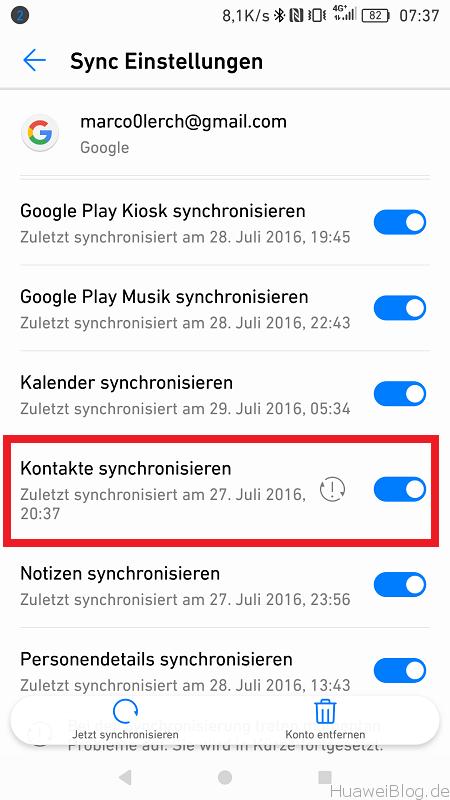 Huawei P9 Android N Google Kontakte