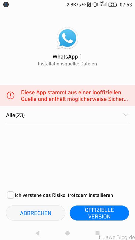 Huawei P9 Android N App Installation Unbekannte Quelle