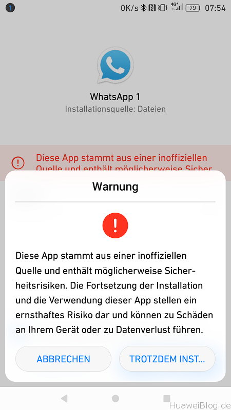 Huawei P9 Android N App Installation Unbekannte Quelle Warnung
